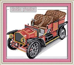 (DIY Needlework Patchwork Accessories Motorcycle and Bubble Car2! Counted Free Cross Stitch Sets for Embroidery Knitting Needles)