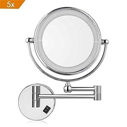 Specchi Ingranditori Per Bagno Con Luce.Amzdeal Specchio Ingranditore Da Trucco Con Luce Led Specchio