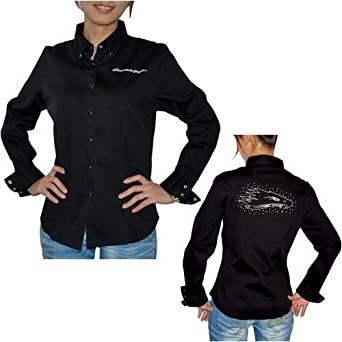 b0820edc514 Harley Davidson Racing Womens Button Down Long Sleeve Shirt (Size  XL)   Amazon.co.uk  Clothing
