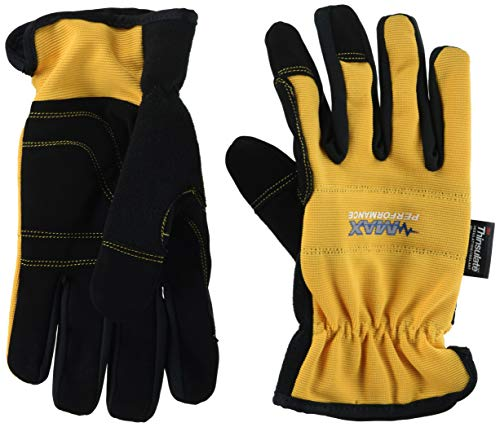 - Midwest Gloves & Gear 72264145759 Synthetic Leather Palm Spandex Back High Performance Gloves with Thinsulate Insulation, Mx450Th, Size:, Large, Yellow