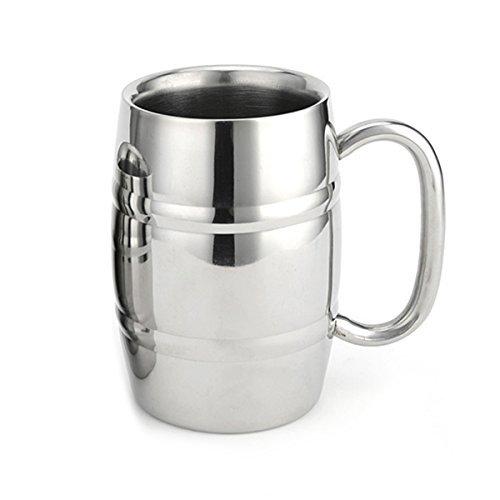 Beer Mug Shape (Homestia Coffee Mug Double Wall Stainless Steel Insulated Coffee Beer Barrel Shape Mugs 14.5oz Beer Mug)
