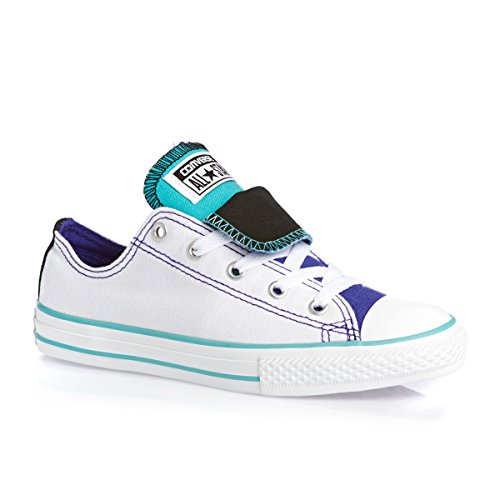 CONVERSE ALL STAR DOUBLE TONGUE CHUCK TAYLOR SCHUHE KINDER SNEAKER WEISS TÜRKIS Weiß