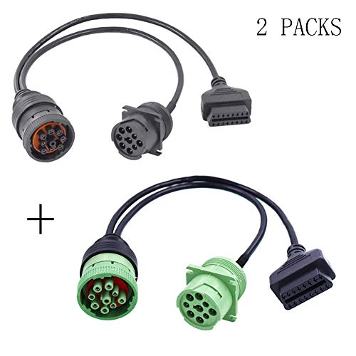 Ocstar J1939 to OBD2 Adapter Cable Type1 Y Cable Type2 Y Cable OBDII 16Pin Male to Female SAE J1939 9 Pin OBD-II Interface Truck Cable GPS Trackers Scan Tools (2 Packs)