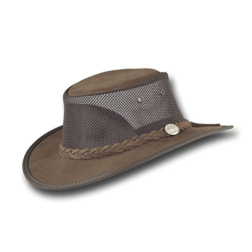 Barmah Hats Foldaway Cattle Suede Cooler Leather Hat - 1064BR/1064HI/1064LM (Large, Brown)