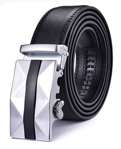 Xhtang Fashion Men's Leather Belt Ratchet Dresses Belts Automatic Buckle Black ()