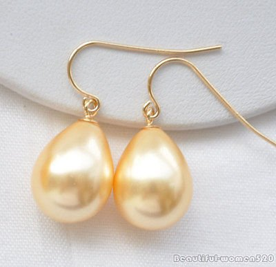 YELLOW X0353 16mm drip south sea shell pearl dangle earring (Mabe South Rings Pearl Sea)