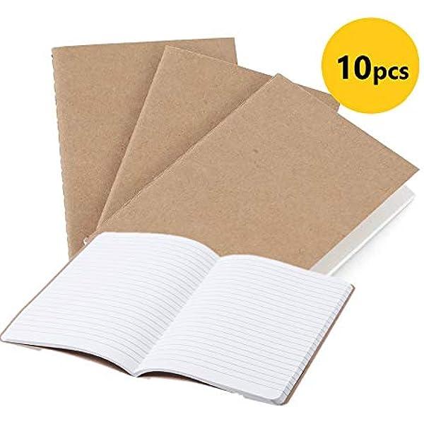 10 cuadernos, A5 Tapa de Kraft Blanda rayas, Medidas 14 x 21 x 0.8 ...