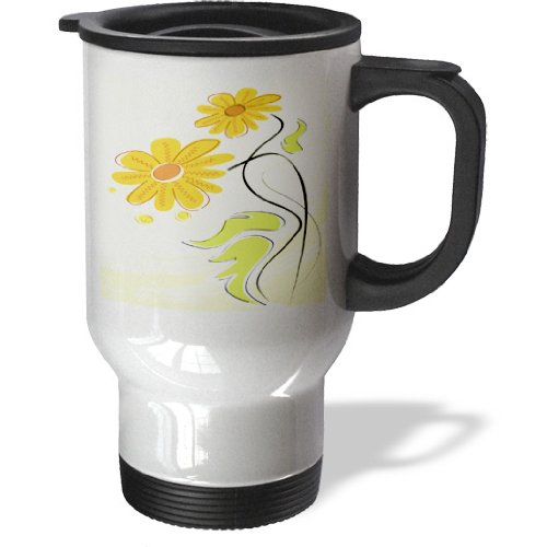Anne Marie Baugh Flowers - Cute Yellow Daisies With Scribble Centers - 14oz Stainless Steel Travel Mug (tm_158582_1)