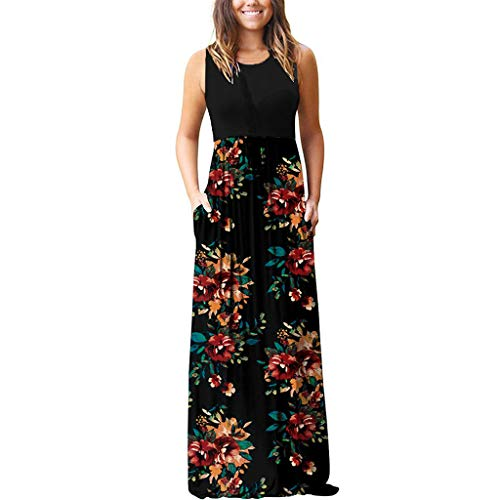 Women Swing Long Dress, Sleeveless Floral Print Pockets Maxi Dresses Changeshopping