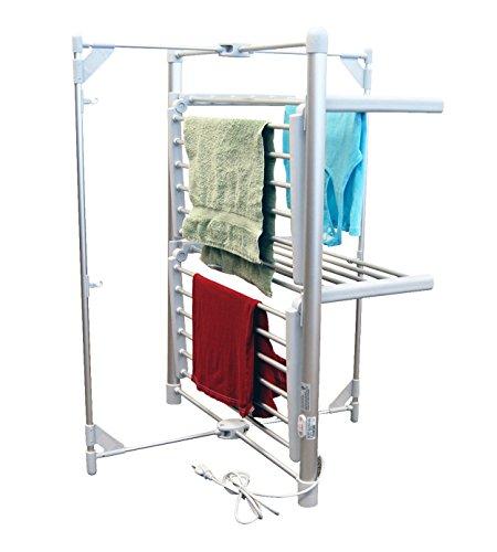 - LCM Home Fashions 2-Tier Heated Drying Rack Tower Warmer
