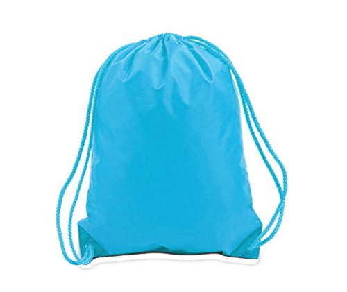 Promotional Polyester Drawstring Bag 12-Pack - Comfortable & Stylish Backpack Sack With Adjustable Straps, Great For DIY Projects, Brand Promotions, Gyms, Schools (Medium (15''W x 18''H), TURQUOISE) by BagzDepot