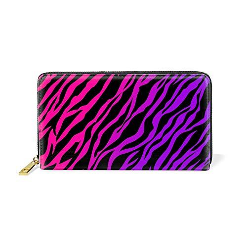 Women Leather Wallet Bifold Clutch Wallet Purple Zebra Print Zipper Wallets