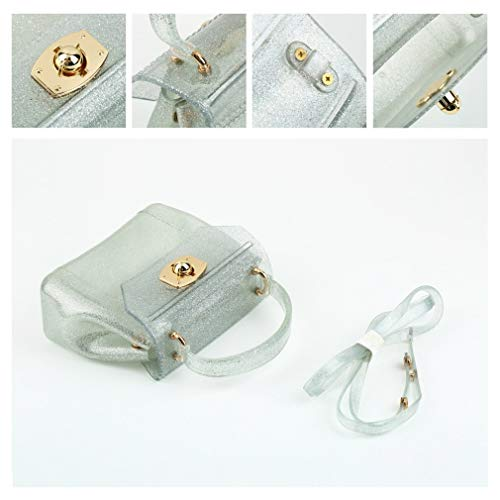 con Hombro Mini Cremallera Khaki PVC Cremallera con Bolso Jelly Silver de E4SqFEza