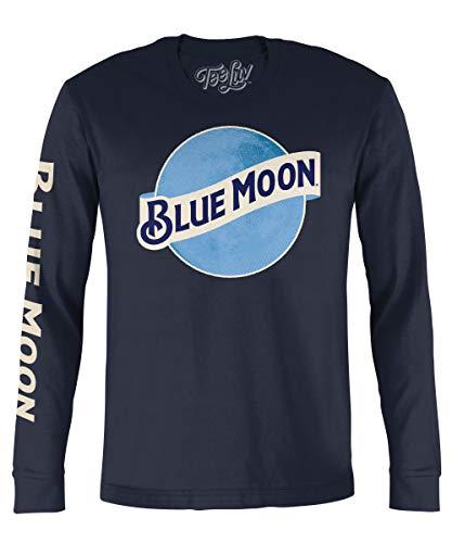 Tee Luv Blue Moon Long Sleeve T-Shirt - Blue Moon Beer Logo Shirt (XX-Large) (Strohs Beer Shirt)