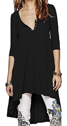 neck V Long Solid Casual Womens Loose Cruiize Black Dress Tunic Tops Sleeve qI6XF4w