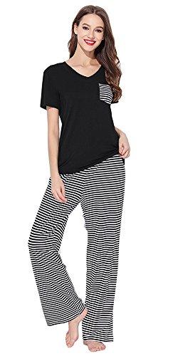 leeve Pajamas Striped Pocket Top and Pants PJS Sleepwears (Cotton Silk Knit Pants)