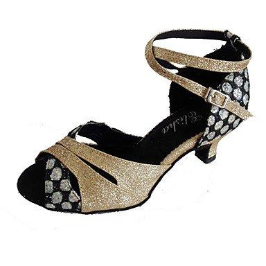 XIAMUO Anpassbare Damen Tanzschuhe Latein/Ballsaal funkelnden Glitter angepasste Ferse Gold, Gold-Black, US 9 / EU 40/UK7/CN41
