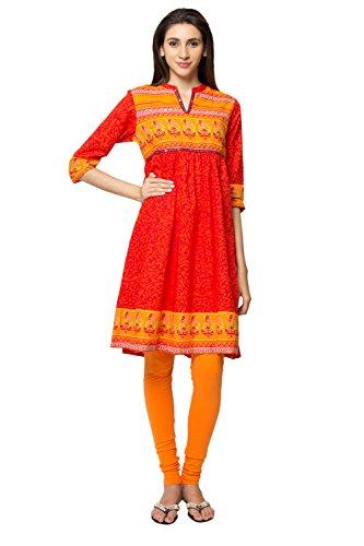 In-Sattva ethnicity Women's Indian Artisan Print Vibrant Kurta Tunic; XL; Red by In-Sattva