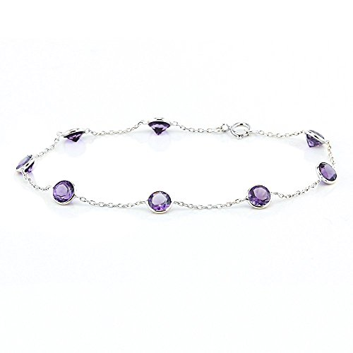 14k White Gold Handmade Station Bracelet with Round 5mm Amethysts 7 - 8 Inches by amazinite