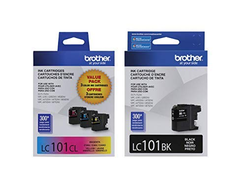 Brother LC101 Ink Cartridges (Black, Cyan, Magenta, Yellow) in Retail Packaging