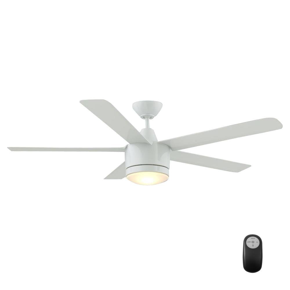 Merwry 52 In Led Indoor White Ceiling Fan Wiring Wall Control