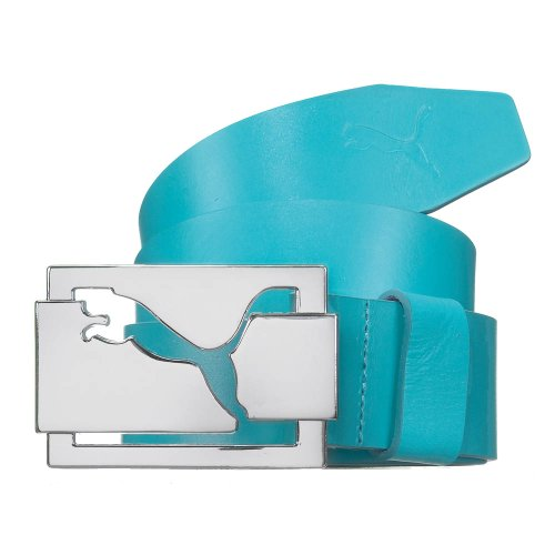 Puma Men's High Shine Fitted Leather Golf Belt - S - Blue Atoll
