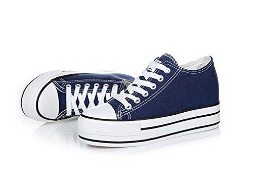Semelle Epais Lacets Tennis Décontractées Chaussures Plateforme Confort Plate Mauea Basket Simple Mode Toile Sneakers Femme wSTTIX