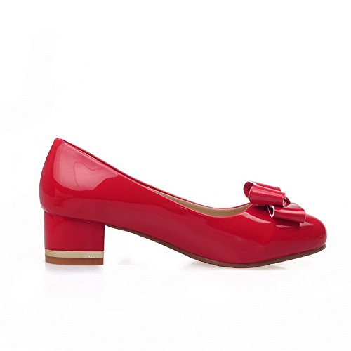 Red On Shoes Pull Toe Pumps Imitated BalaMasa Leather Womens Round 4BxRfwScq1