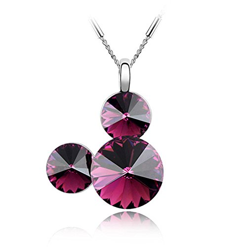 Gift for Girls White Gold Plated Mickey Mouse Dark Red Purple Round Shaped Cubic Zirconia Pendant Animal Necklace