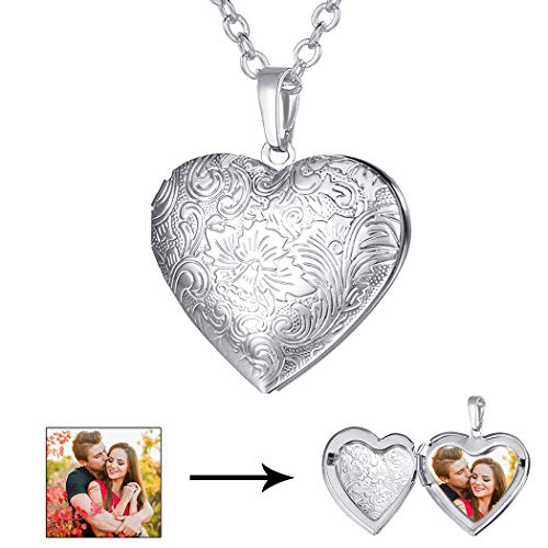 U7 Blooming Flower Design Heart Locket Necklace for Women Girls Platinum Plated Ro