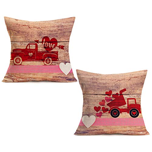 Asamour Valentine's Day Home Decor Pillowcase Vintage Wood Red Truck with Love Sweet Heart Cotton Linen Throw Pillow Case Cushion Cover 18''x18'' Set of 2,Love & Arrow,Pink White Buffalo Check Plaid