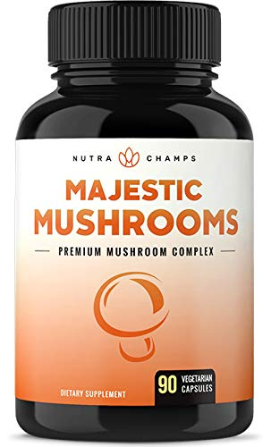 Premium Mushroom Supplement with Cordyceps Extract, Lion's Mane, Reishi & More – Immune System & Nootropic Brain Booster Complex for Energy, Focus, Memory & Clarity – 90 Vegan Capsules