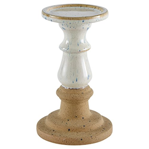 (Stone & Beam Rustic Farmhouse Stoneware Pillar Candle Decor Holder - 8 Inch, White and Clay )