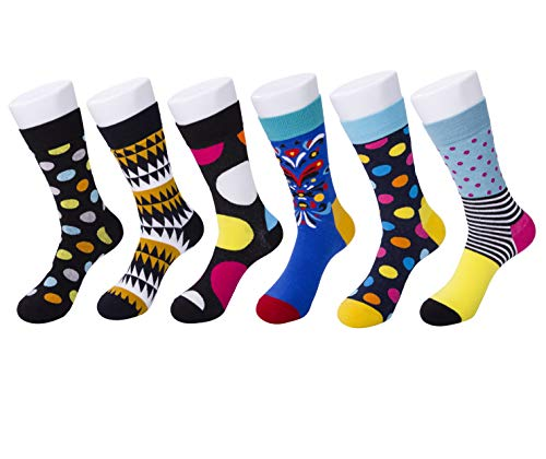 Mens Colorful Dress Socks,Mens Fashion Casual Colorful Patterned Fancy Cotton Mid Tube Socks Pack (Color, 6) -
