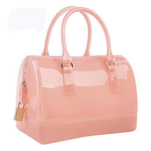 Pillow QZUnique Color Handbag Candy Color shaped Shoulder Summer Baby Pink Bag Spring Jelly Tote Bag Transparent Women's PqxUArwP