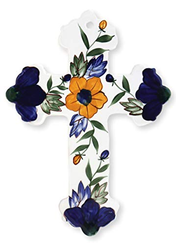 Precious Home Collection, Yellow Flower rounded by Blue Flowers Decoration Cross, 9-1/4