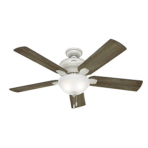 Hunter Fan Company 54091 Matheston 52-Inch Cottage White Ceiling Fan with Five Gray Pine Blades and a Light Kit