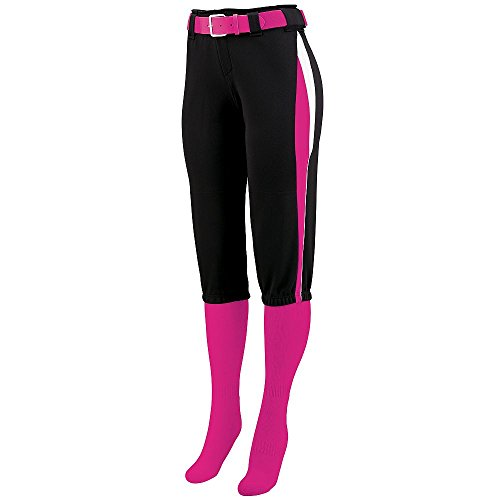 Augusta Sportswear Girls' Comet Softball Pant M Black/Power Pink/White