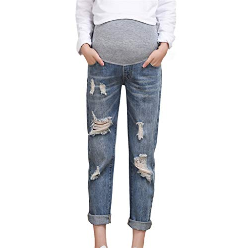 (Maternity Pants Women's Comfy Stretchy Relaxed Fit Slim Jeans Ripped Distressed Skinny Ankle Work Denim Pants (Blue, XL))