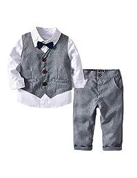 Coerni Toddler Boy Bowtie Gentleman Outfit Set of 4 Tops+Pants+Tie+Vest Wedding Suit