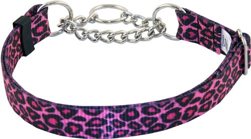 10 - Country Brook Design Pink Leopard Print Half Check Dog Collars - Large