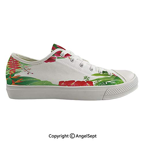 (Durable Anti-Slip Sole Washable Canvas Shoes 15.74inch Hibiscus Plumeria Crepe Gingers Anthurium Leaves Frame Image Print Decorative,Hot Pink White Red and Green Flexible and Soft Nice Gift)