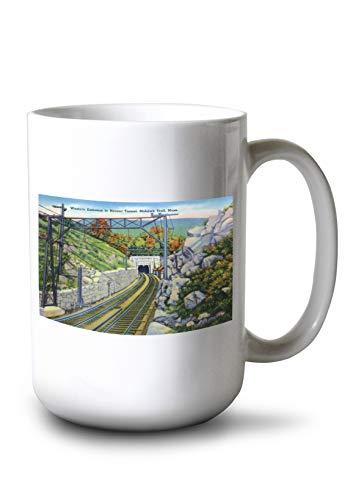 Berkshire Mountains, MA - Mohawk Trail View of W. Entrance to Hoosac Tunnel (15oz White Ceramic Mug)