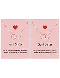 Your Always Charm Soul Sisters Necklace,Best Friend Necklaces for 2 Sister Graduation Gifts