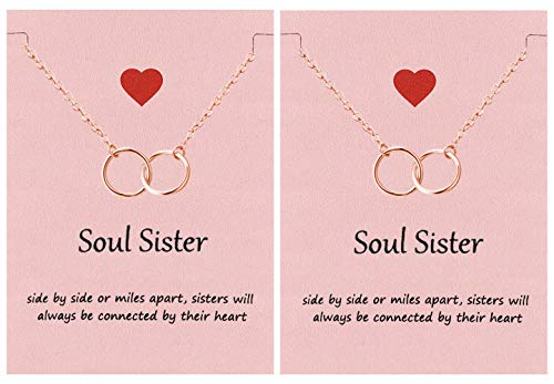 Your Always Charm Soul Sisters Necklace,Best Friend Necklaces for 2 Interlocking Circles Necklace Sister Gifts (2 Rose Gold)