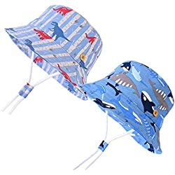 """Baby Boys Sun Protection Hat Bucket Caps Summer Play Hat for 6-84 Months Infant Toddler Kids 2 Pack ((2-3 Years) 20.5"""", 2-Color-A)"""