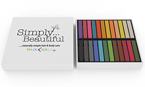 Simply Beautiful Temporary Hair Chalks 24-Set - for Halloween, Fancy Dress Costumes, Performance Styling; Create A Funky Look - Pack Includes 24 Non Toxic Temporary Hair Dye Colour Soft (Temporary Hair Dyes)