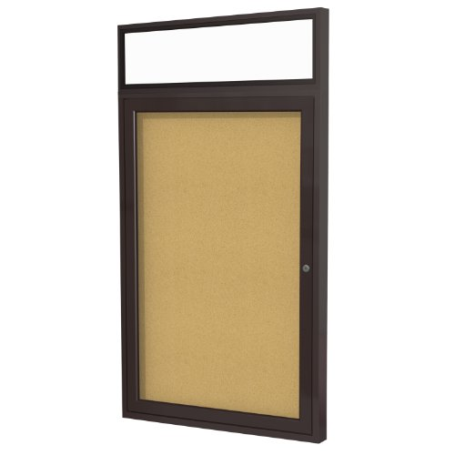 "New 1 Door Enclosed Bulletin Board Size: 3' H x 2'6"" W, Frame Finish: Bronze supplier"