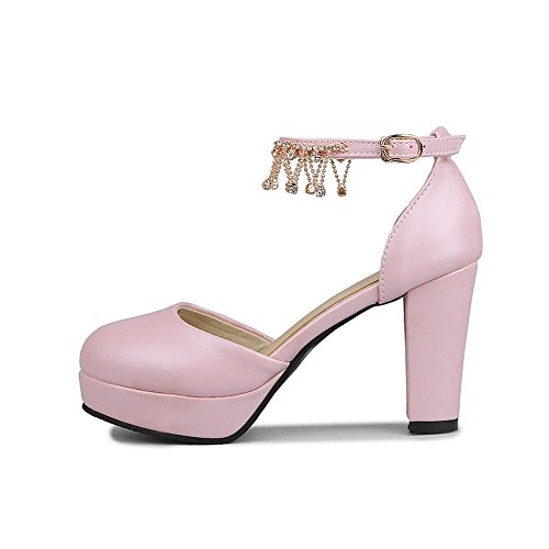 VogueZone009 Women's Buckle Round Closed Toe High Heels Solid Pumps Shoes Pink RYjuU