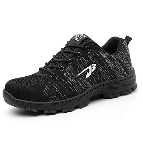 Men Steel Toe Safety Work Shoes,Mesh Breathable Lightweight Comfortable Steel Toe Shoes, Puncture Proof Slip Resistant Industrial Construction Shoes,Casual Outdoor Athletic Fashion Sports Sneakers